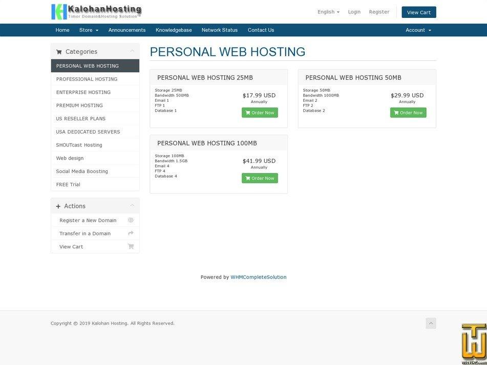 screenshot of Personal Hosting from kalohan.net