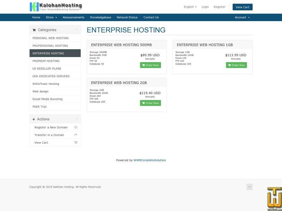 screenshot di Enterprise Hosting a partire dal kalohan.net