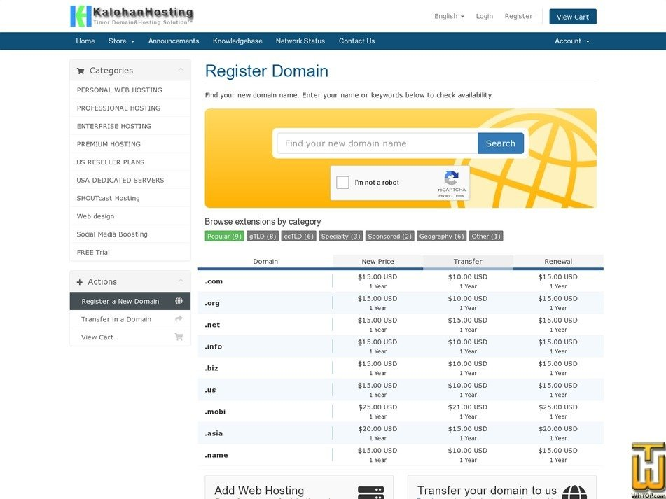 screenshot di DOMAIN REGISTRATION - REJISTU DOMAIN WEBSITE a partire dal kalohan.net