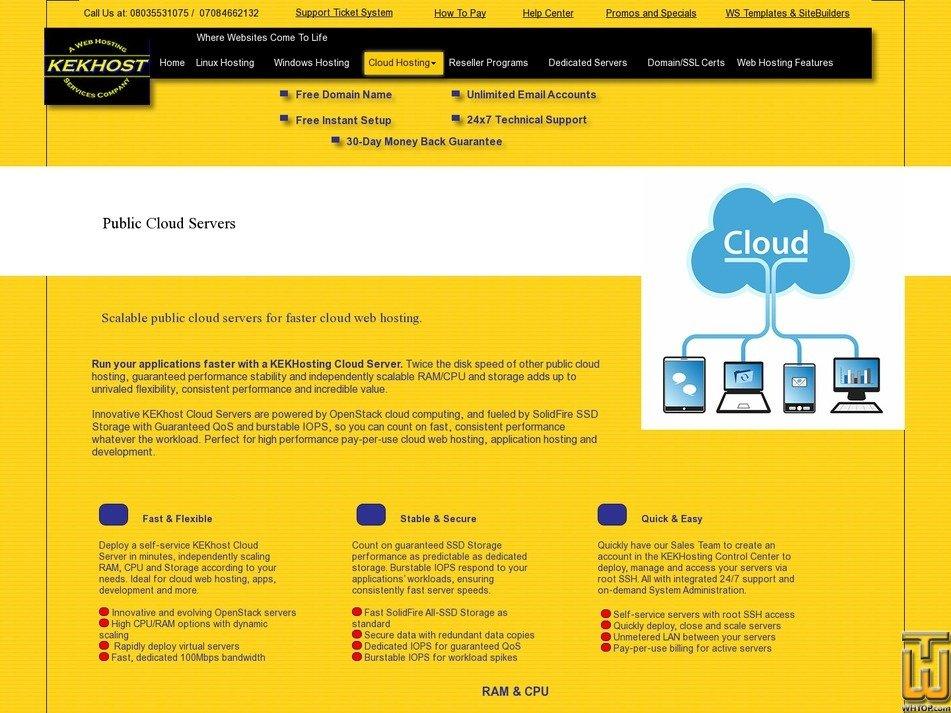 screenshot of P-Cloud 2 vCPU from kekhosting.com