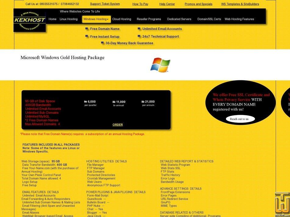 screenshot of Windows Gold Hosting Package from kekhosting.com