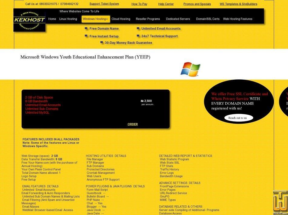 screenshot of Microsoft Windows: Youth Educational Enhancement Package (YEEP) from kekhosting.com