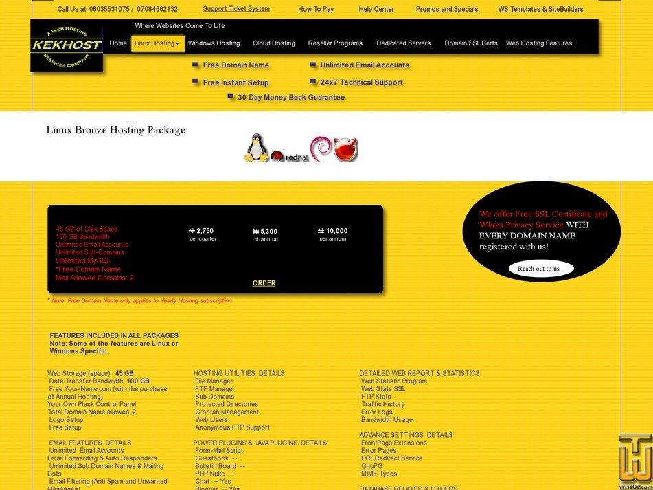 screenshot of Linux Bronze Hosting Package from kekhosting.com
