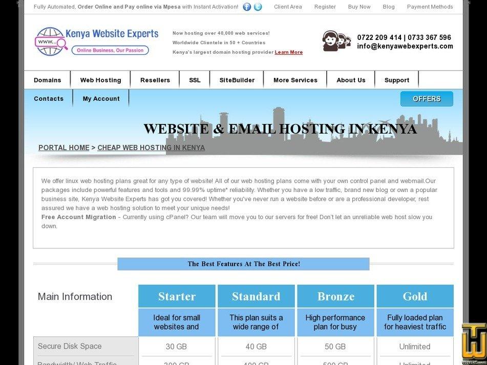 screenshot of Starter Hosting Package from kenyawebexperts.com