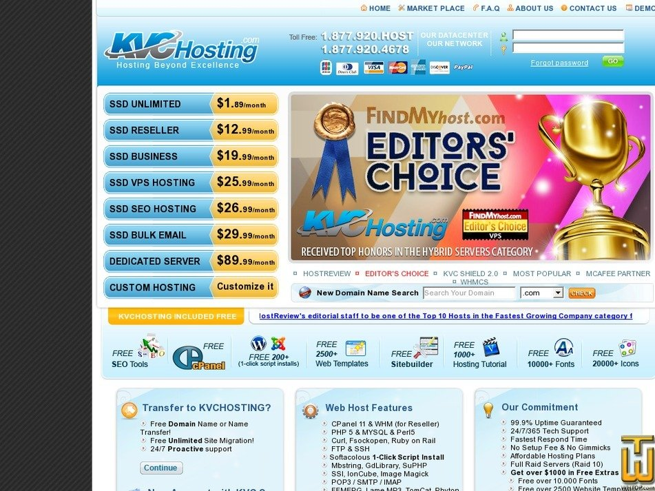 screenshot of VPS V Hosting from kvchosting.net