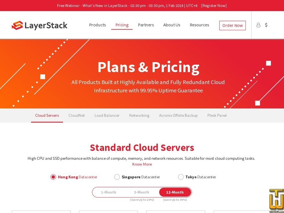 Screenshot of Standard Cloud Servers from layerstack.com