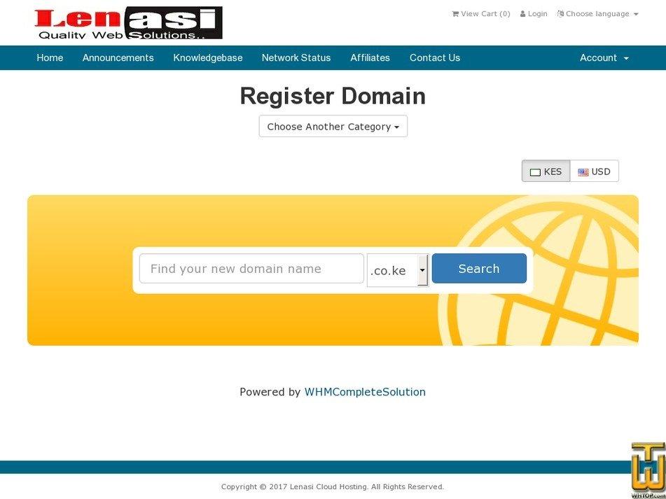 Screenshot of .co.ke,.com,.org,.net,.info,.biz,.me from lenasi.co.ke