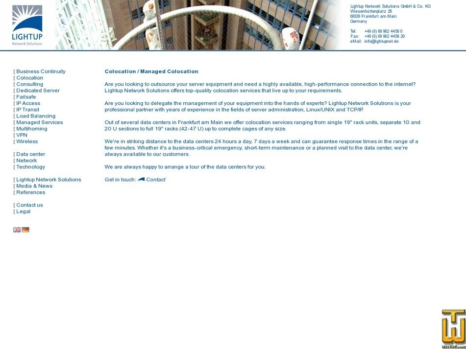 Screenshot of Colocation Frankfurt 1U - 47U from lightupnet.de