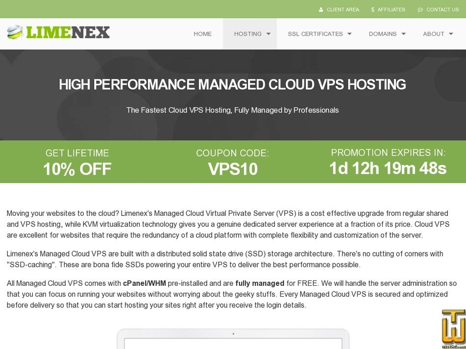 Screenshot of Cloud VPS-1 from limenex.com
