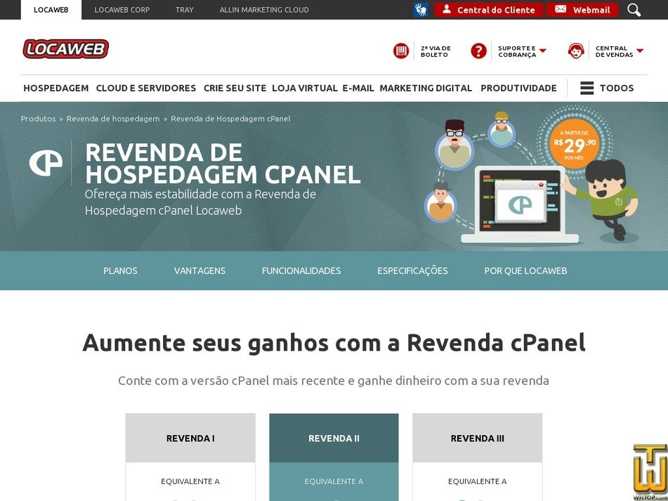 Screenshot of Revenda I from locaweb.com.br