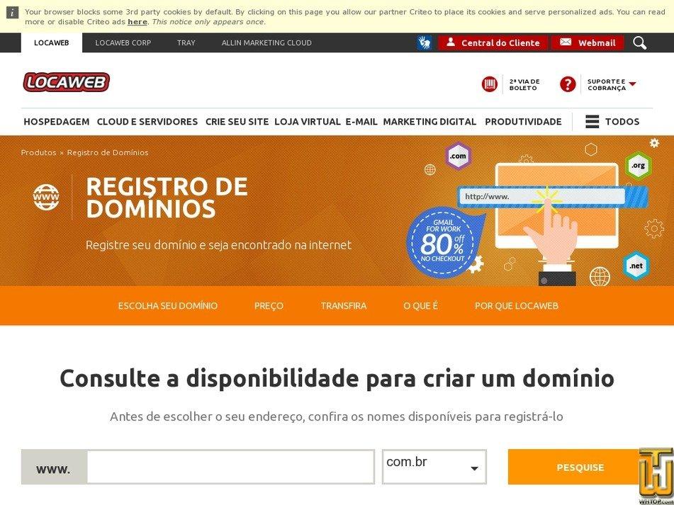 Screenshot of .com .net .org .info .biz .name .br from locaweb.com.br