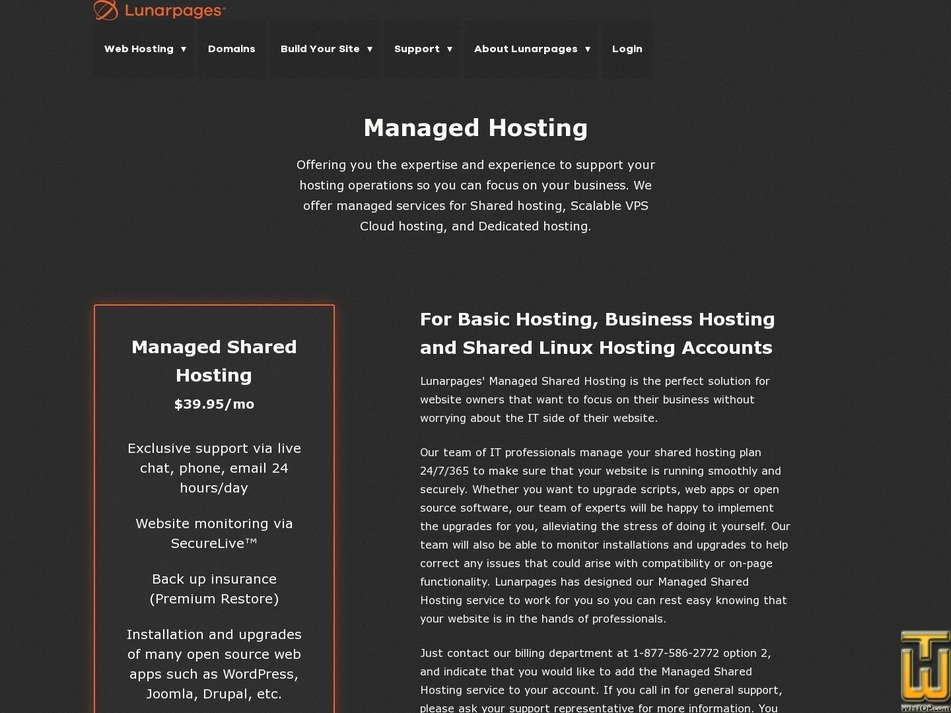 screenshot of Managed Hosting Lite from lunarpages.com