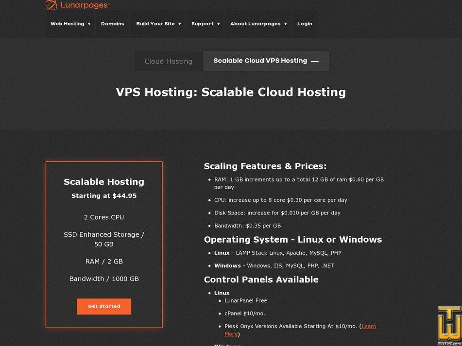 screenshot of Scalable Hosting from lunarpages.com