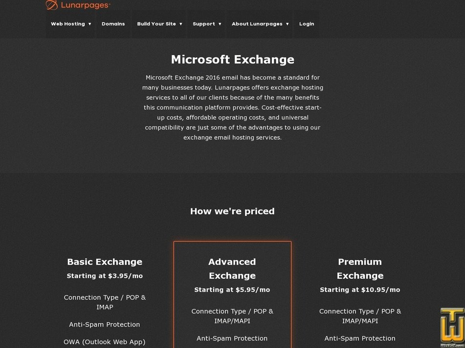 screenshot of Premium Exchange from lunarpages.com