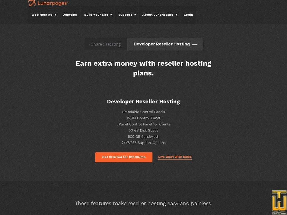 Screenshot of Webmaster Reseller from lunarpages.com