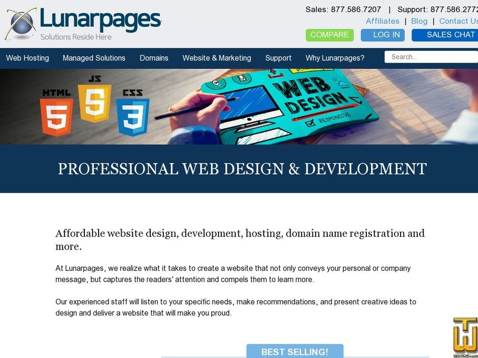 Screenshot of eCommerce from lunarpages.com