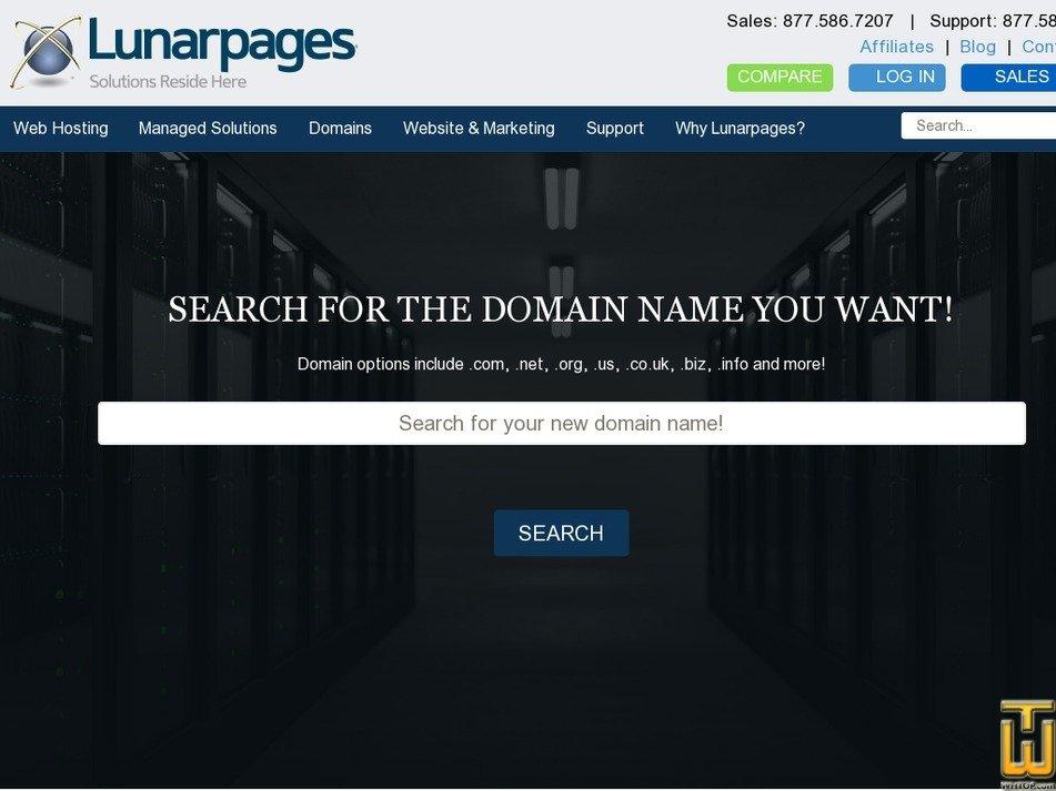 screenshot of .com from lunarpages.com