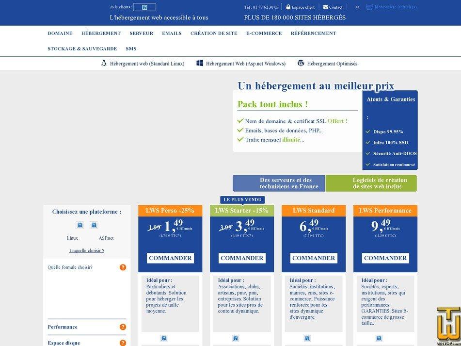 Bildschirmfoto von LWS Performance von lws.fr