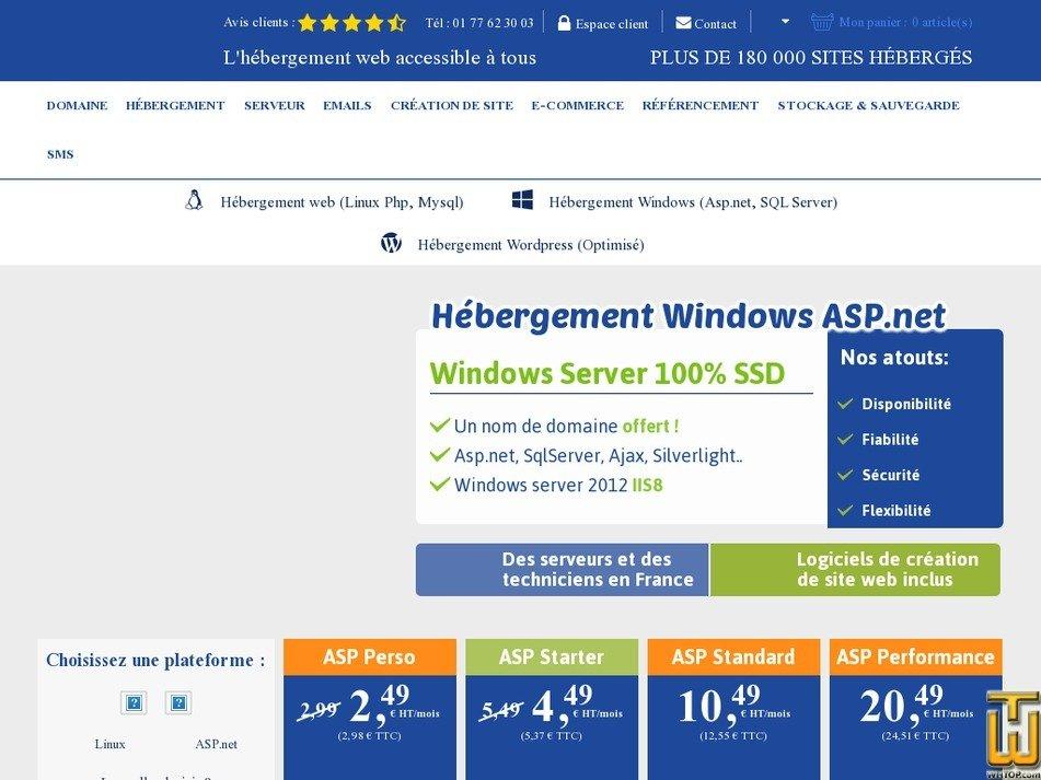 screenshot of ASP Standard from lws.fr