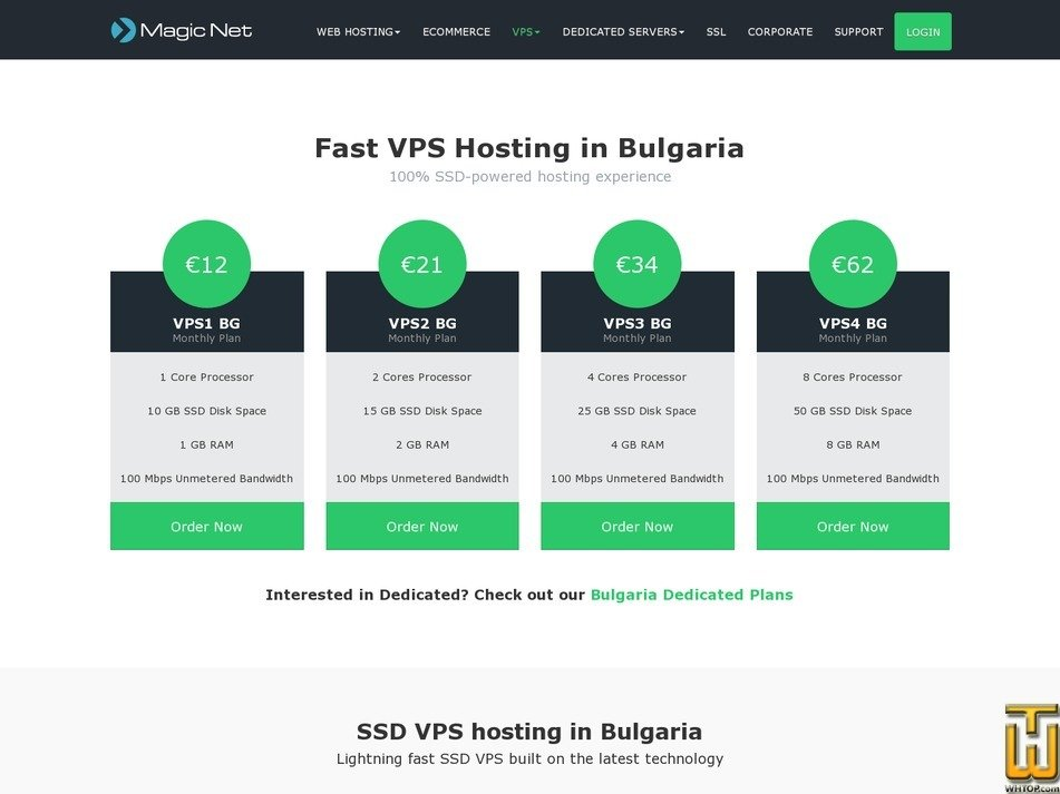screenshot of VPS2 Bulgaria from magicnethosting.com