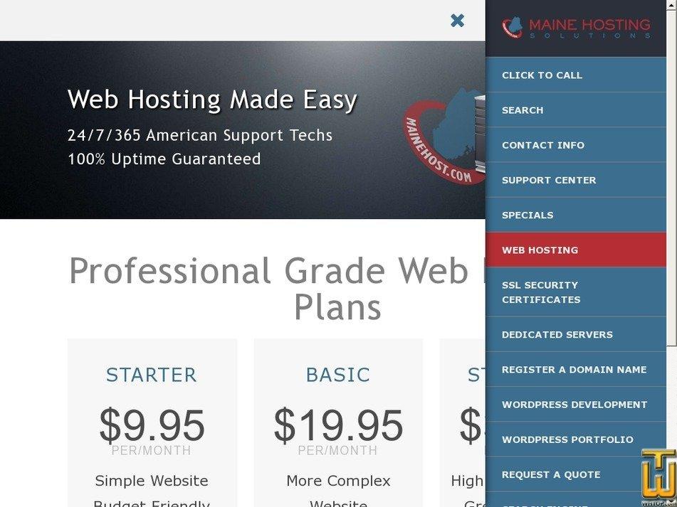 Screenshot of MaineHost.com Starter Hosting Plan from mainehost.com