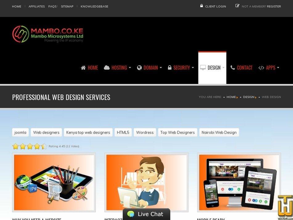 Screenshot of Professional Web Design from mambo.co.ke