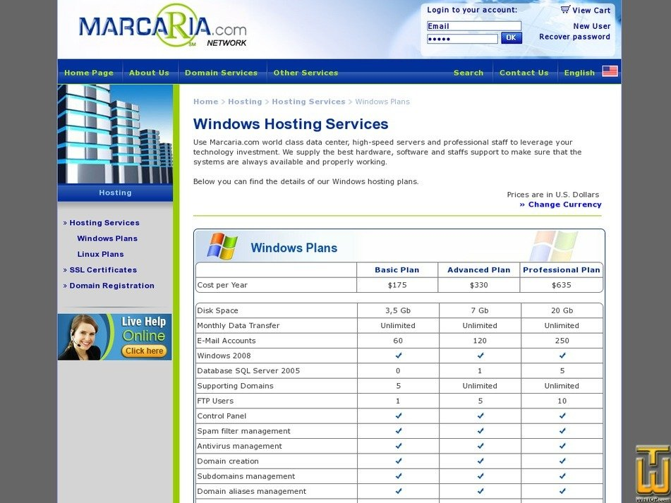 Screenshot of Advanced from marcaria.com