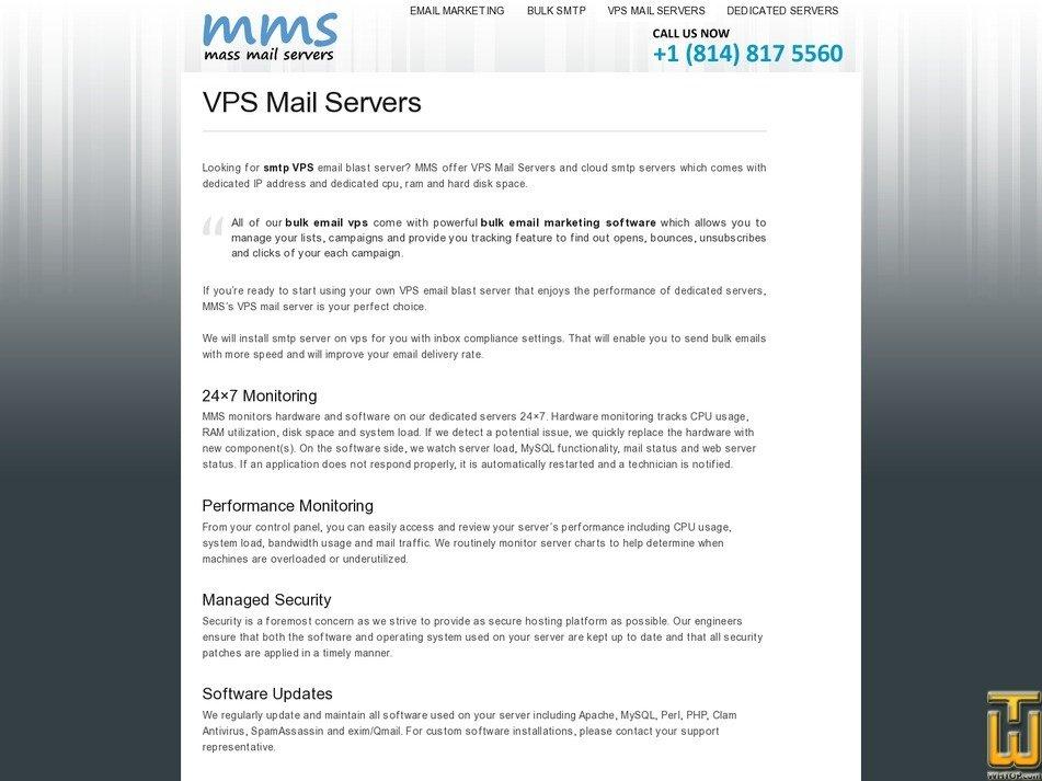 screenshot of Mini from massmailservers.net