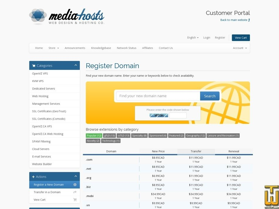 Screenshot of .com .net .biz from media-hosts.com