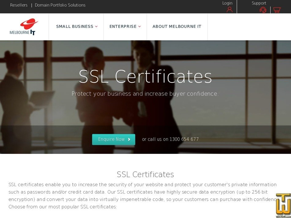 Screenshot of Wildcard RapidSSL from melbourneit.com.au
