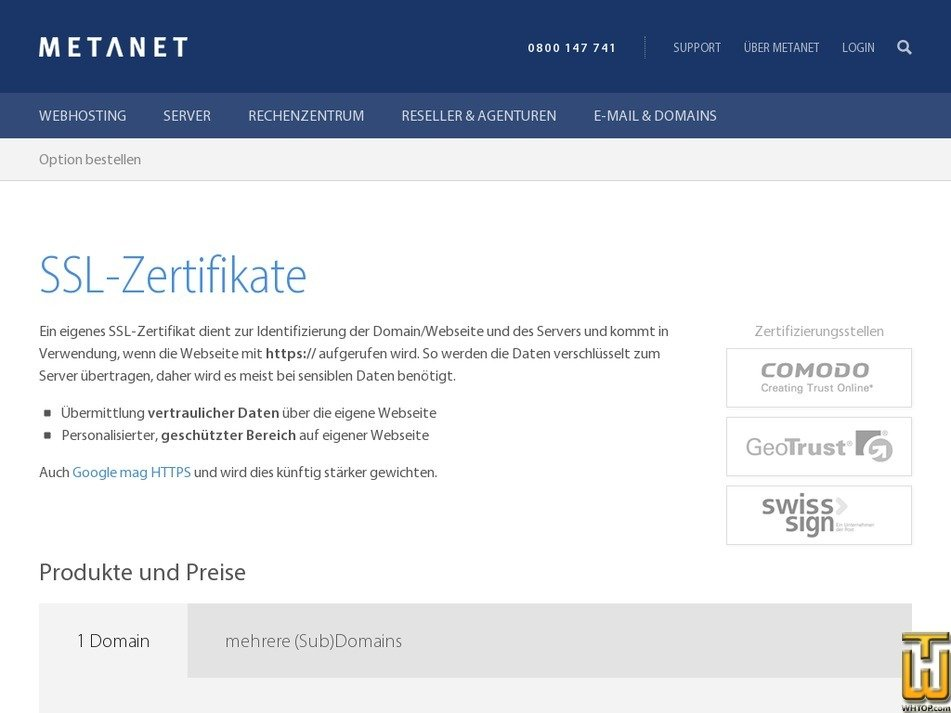 Business SWISS from metanet.ch, #46613 on SSL Certificates,