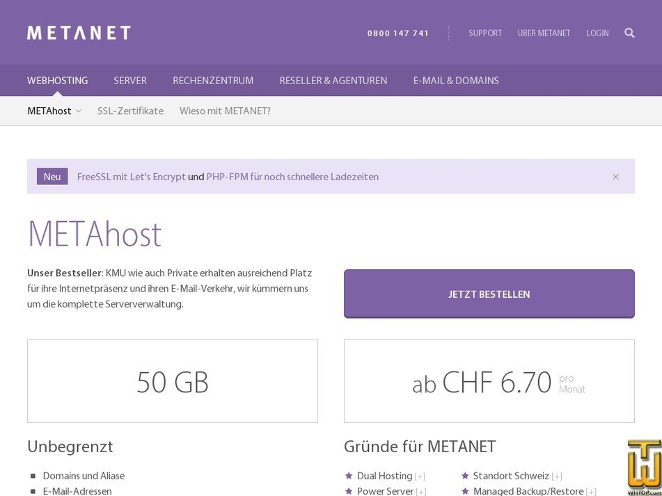 METAhost from metanet.ch, CHF 6.70/mo. on Shared, Linux