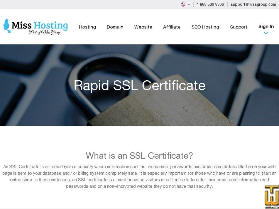 Screenshot of SSL Certificate from misshosting.com