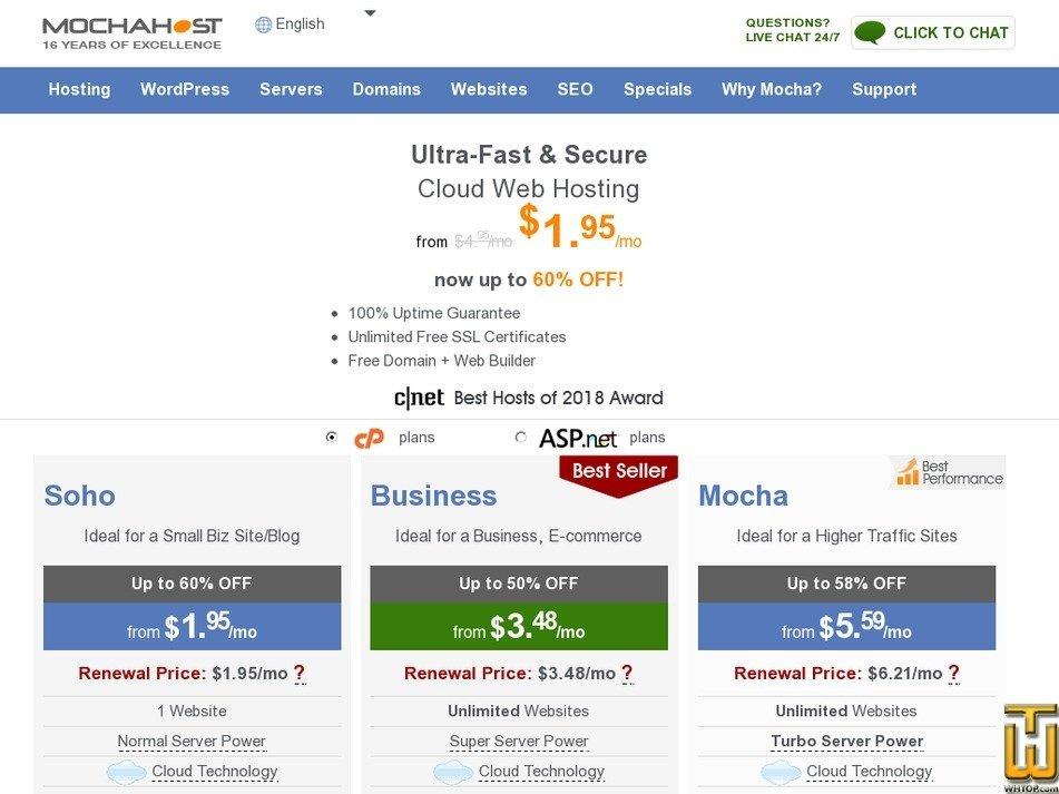 Screenshot of Soho from mochahost.com