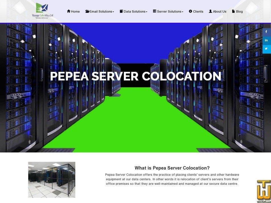 screenshot of Pepea Server Colocation from msgafrica.com