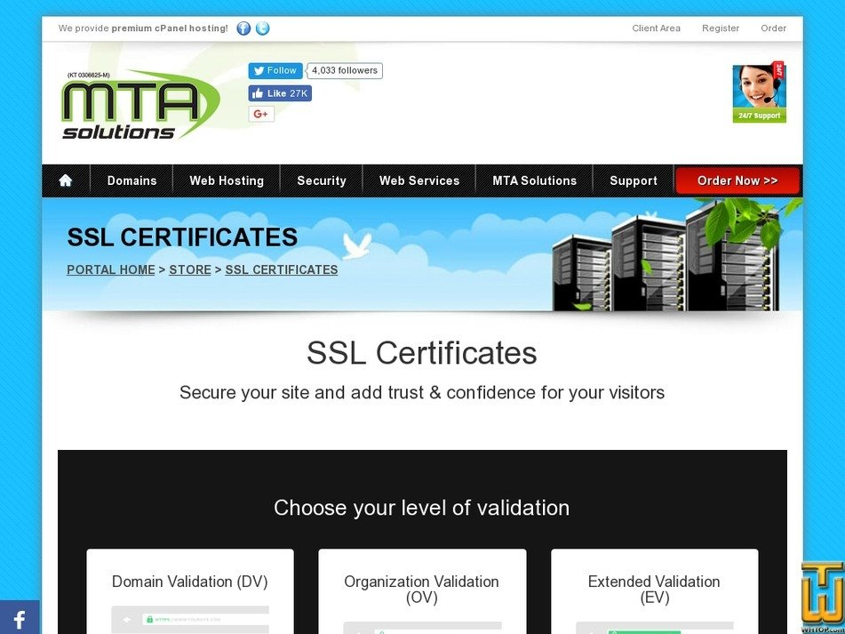 Screenshot of Trusted SSL Certificates from mtasolutions.com.my