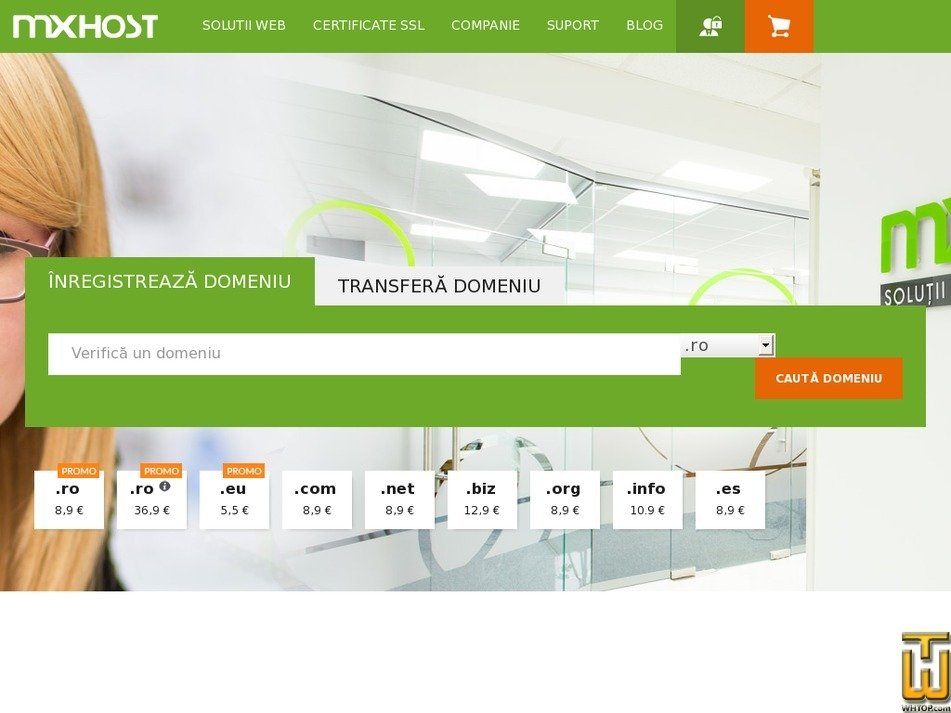 screenshot of .com from mxhost.ro