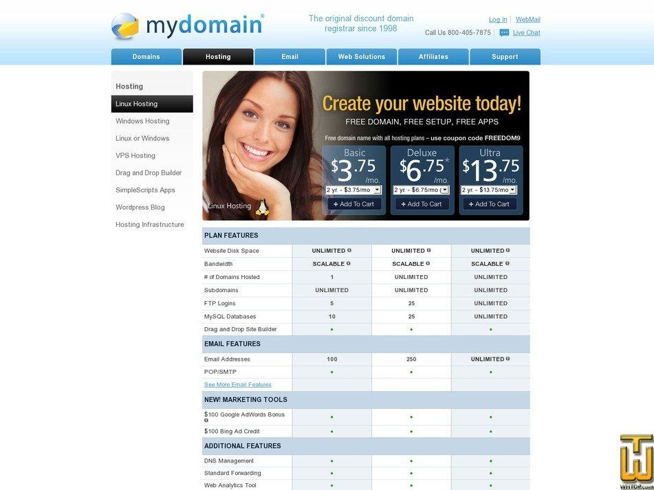 Screenshot of Deluxe from mydomain.com