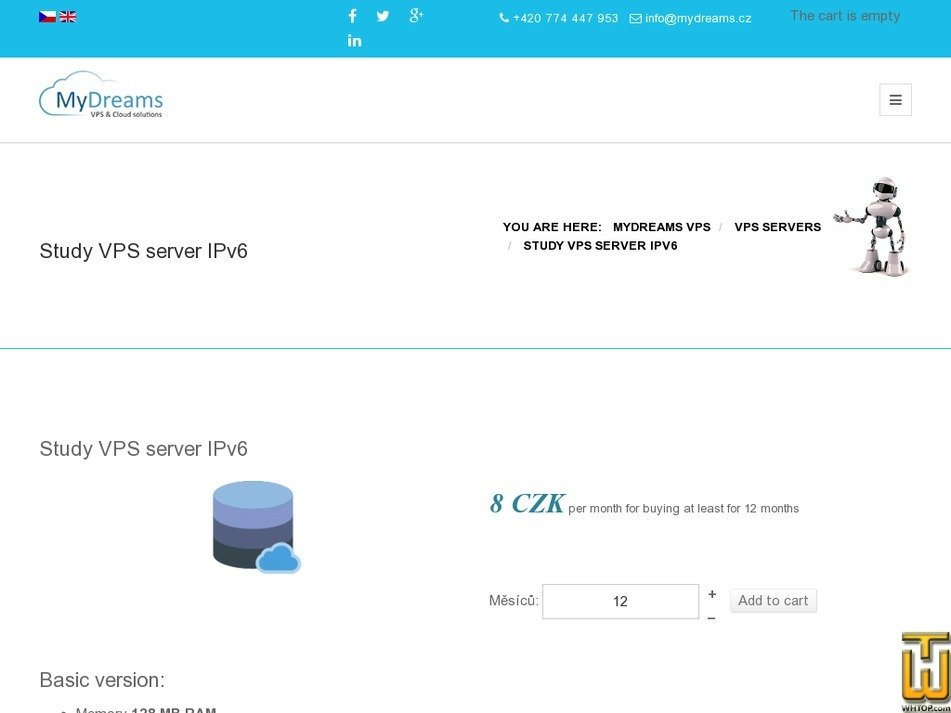 Screenshot of Study VPS server IPv6 from mydreams.cz