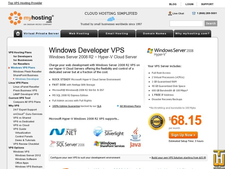 Screenshot of Developer + .NET from myhosting.com