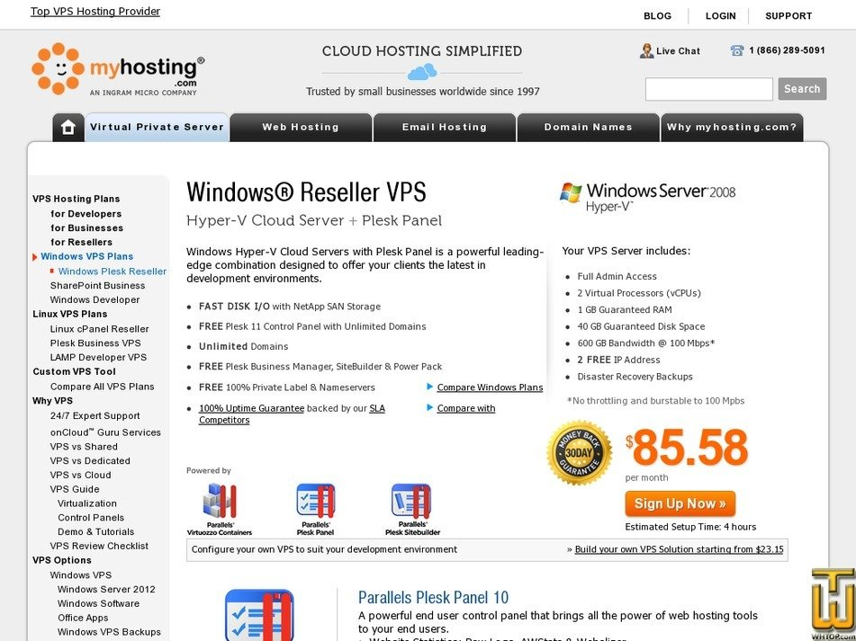 Screenshot of Reseller + Plesk from myhosting.com