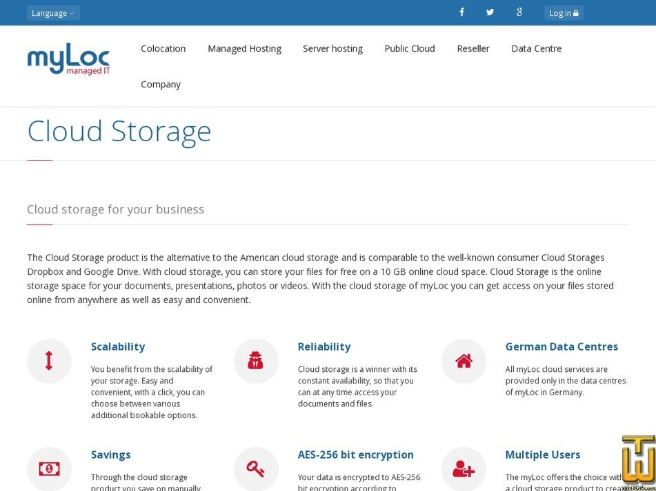 Screenshot of Cloud Storage M from myloc.de