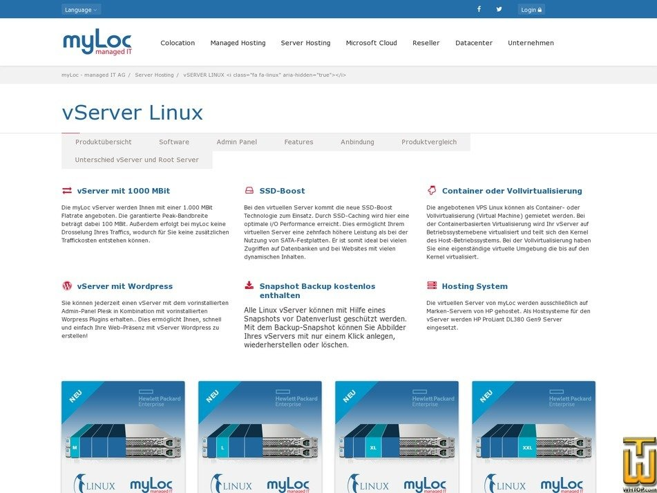 screenshot of vServer Linux S from myloc.de