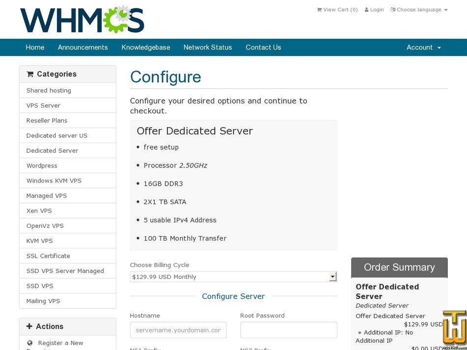 Screenshot of Intel i3 dedicated server from myvpshost.org