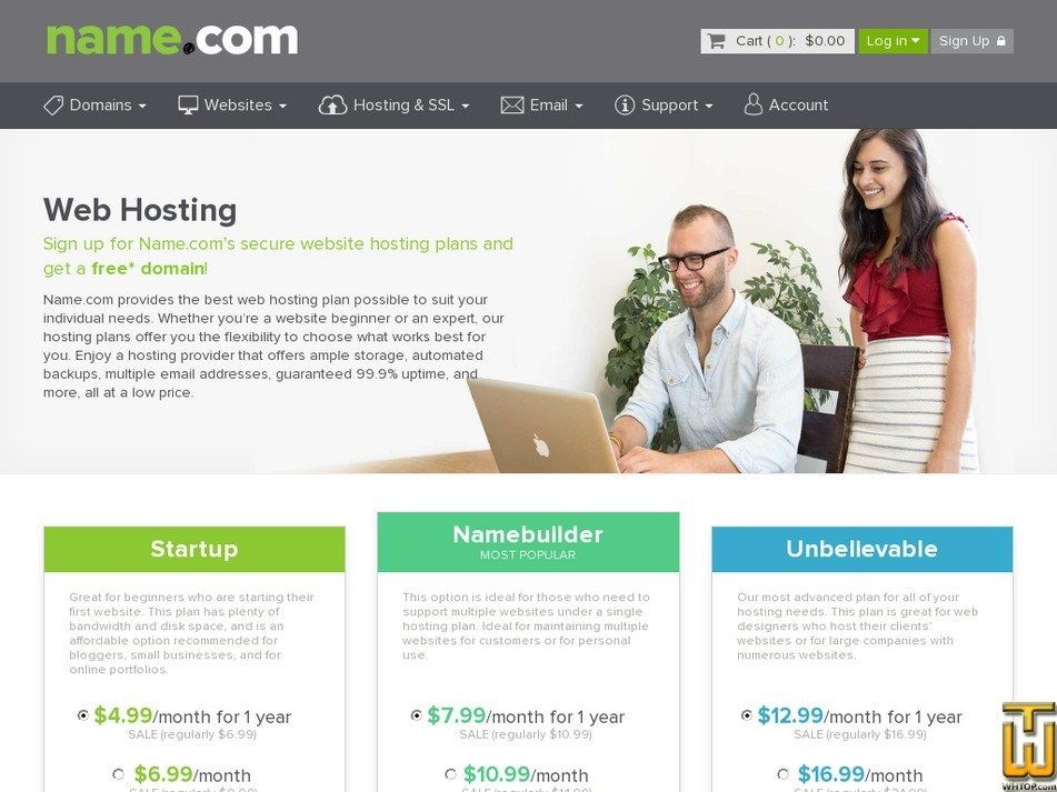 Screenshot of Startup from name.com