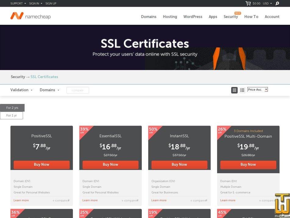 screenshot of PremiumSSL Wildcard from namecheap.com