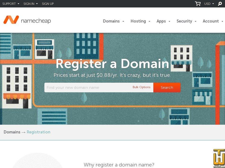 screenshot of .com from namecheap.com