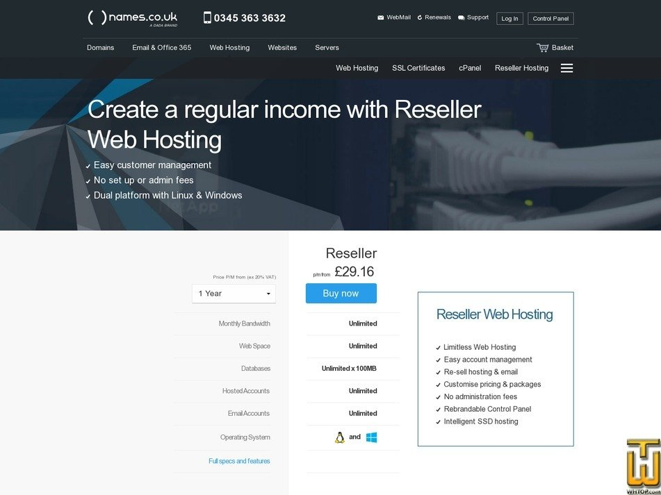 screenshot of Reseller from names.co.uk