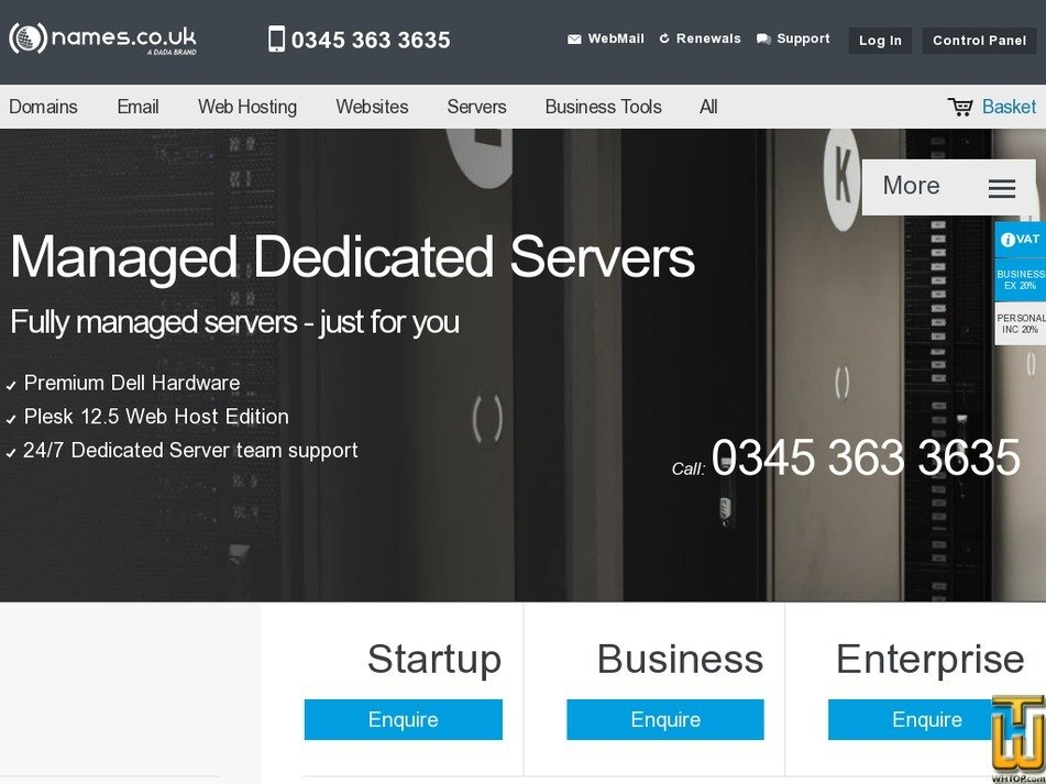 Screenshot of Startup from names.co.uk