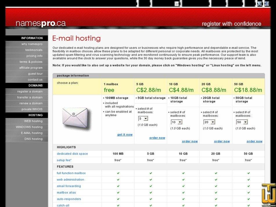 screenshot of 50 GB from namespro.ca